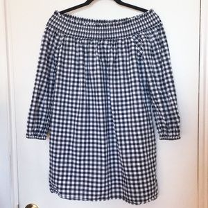 ABERCROMBIE OFF THE SHOULDER GINGHAM DRESS